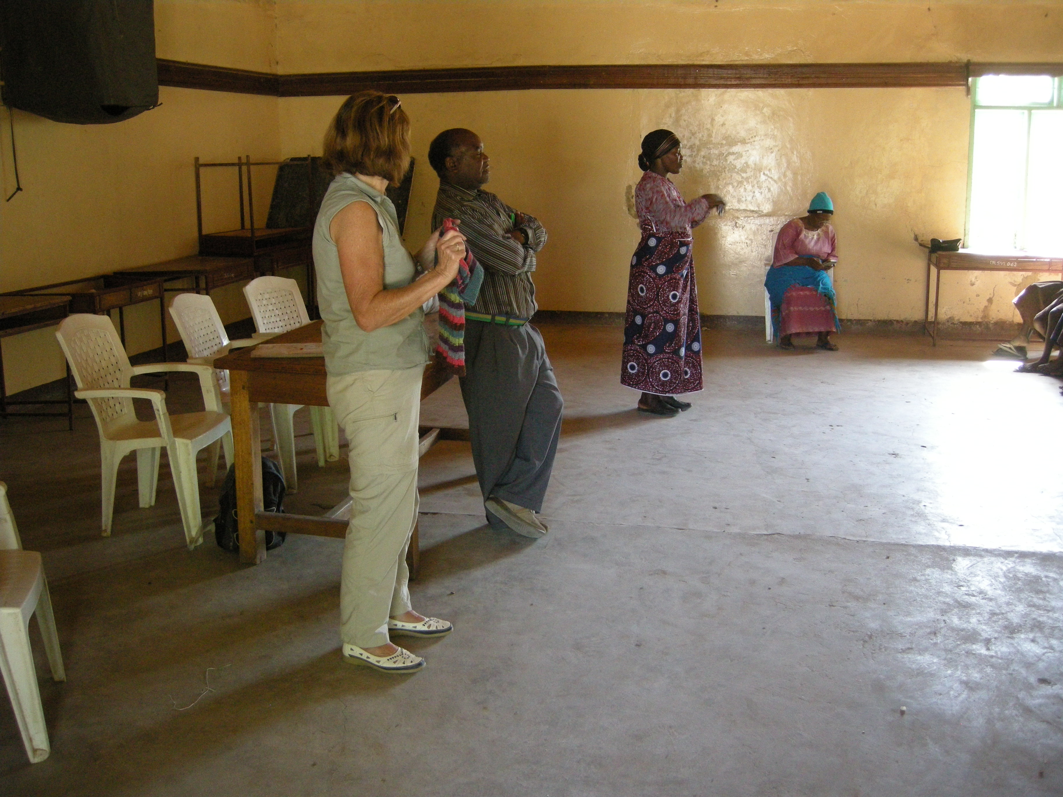 Deaf School - Sue talking to students via Philemon as translator and then signed by the school mistress